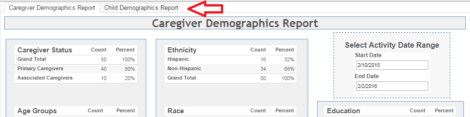 Demographics report containing multiple dashboards